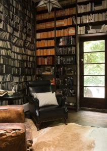 Deborah Bowness bookshelf wallpaper and real Penguins